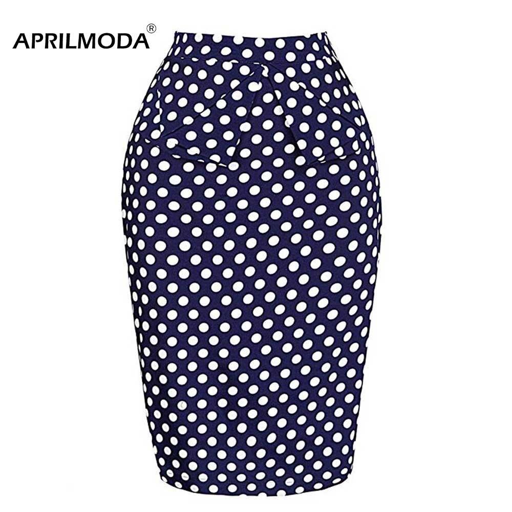 Летняя юбка-карандаш с принтом в горошек, Женская винтажная юбка с высокой талией, 50 s, элегантные Повседневные Вечерние Облегающие юбки