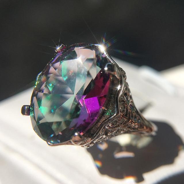 Фото новое поступление винтажные цветные кольца с большим цирконием цена