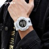 Sanda Watch Men 778 Dual Display Waterproof Transparant Outdoor Sports LED Digital Watches Students Wristwatch montre femme