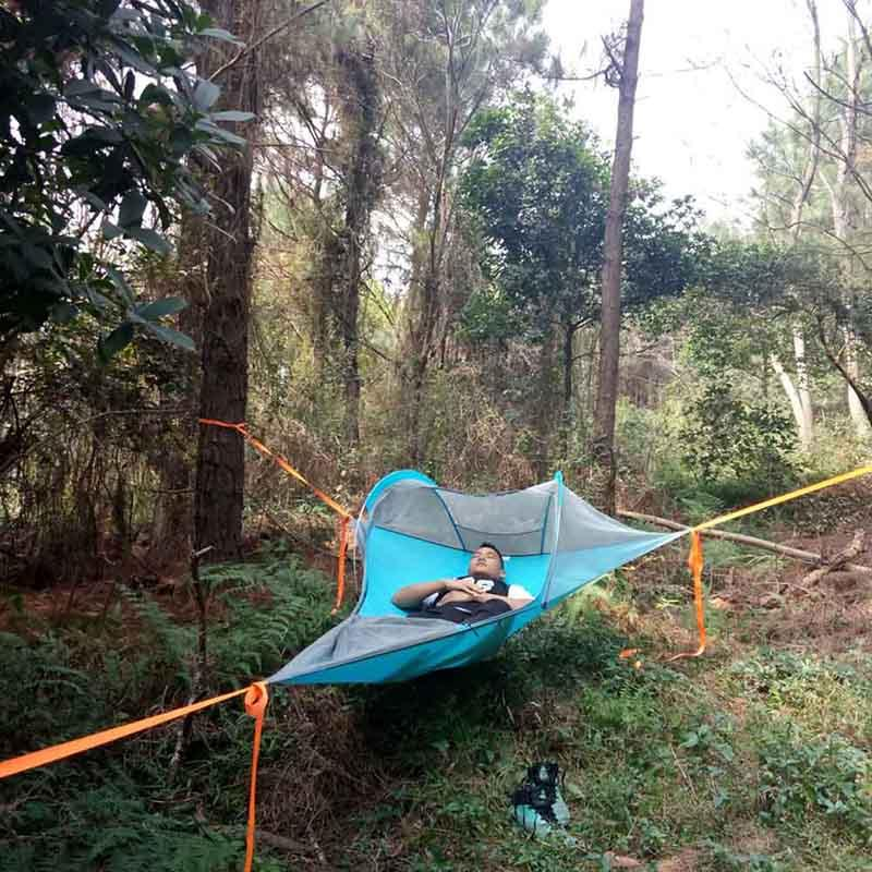 50 Single Person Hiking Traveling Tree Tent Outdoor Camping Tree Hammock Bed Ultralight Multi-functional Three Trees Hanging Bed