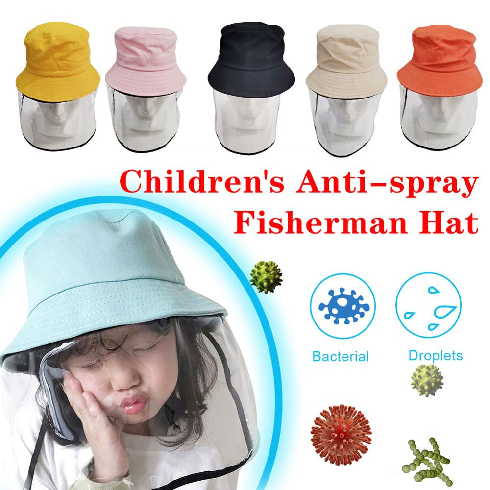 Children's Protective Transparent Mask Anti-fog Flu Coronaflu Saliva Face Masks Windproof Fisherman Hat With Protection Cap
