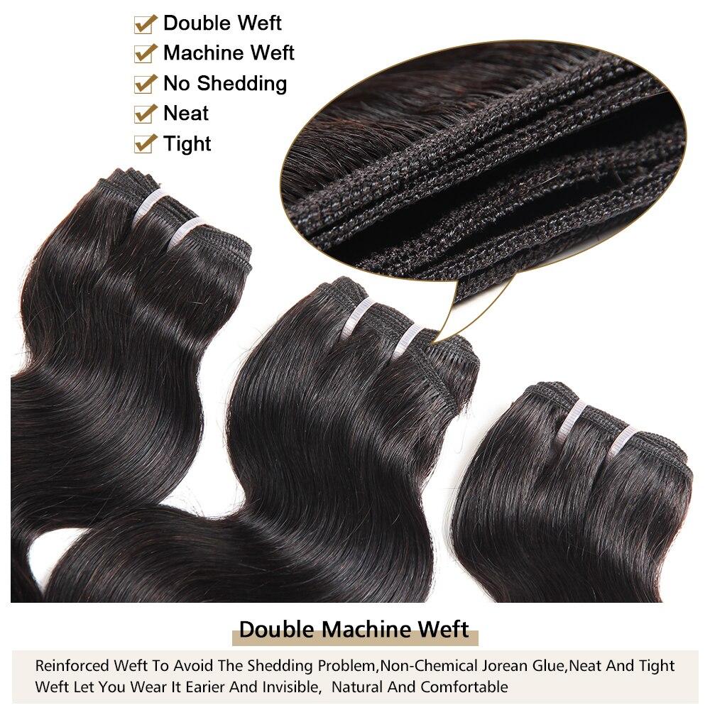 MORICHY Body Wave Hair Bundles Double Drawn Weaves Brazilian Human Hair Extension Non-Remy Natural Color tissage naturel court