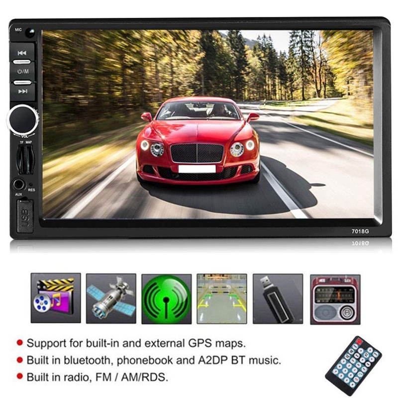 2 Din Car Multimedia Player <font><b>7018</b></font> GPS Navigation with Map 7 Inch HD Contact Screen Bluetooth Radio Car Stereo MP5 FM Radio WiFi <font><b>B</b></font> image