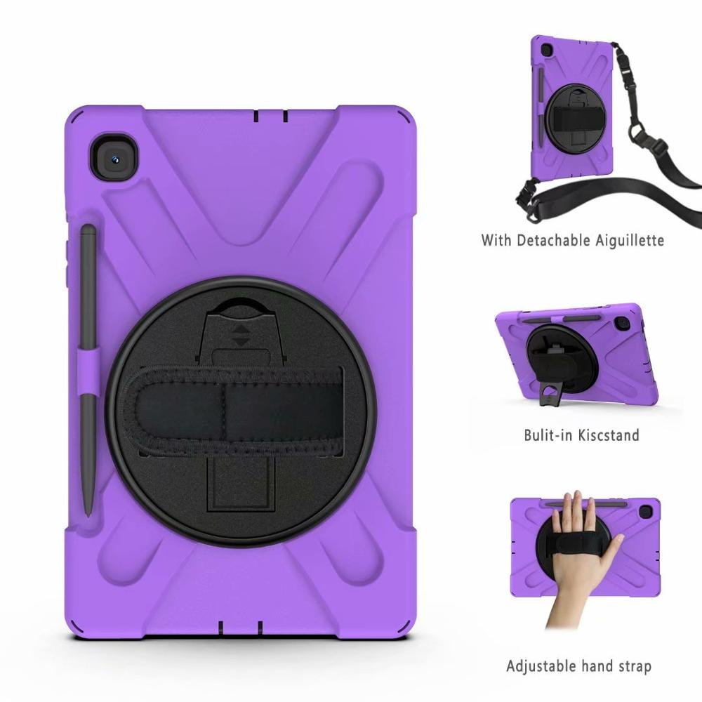 360 Rotating Shockproof Case For Samsung Tab S6 Lite 10.4 2020 SM P615 P610 Cover 3 Layer Protection Silicon Plastic Stand Funda