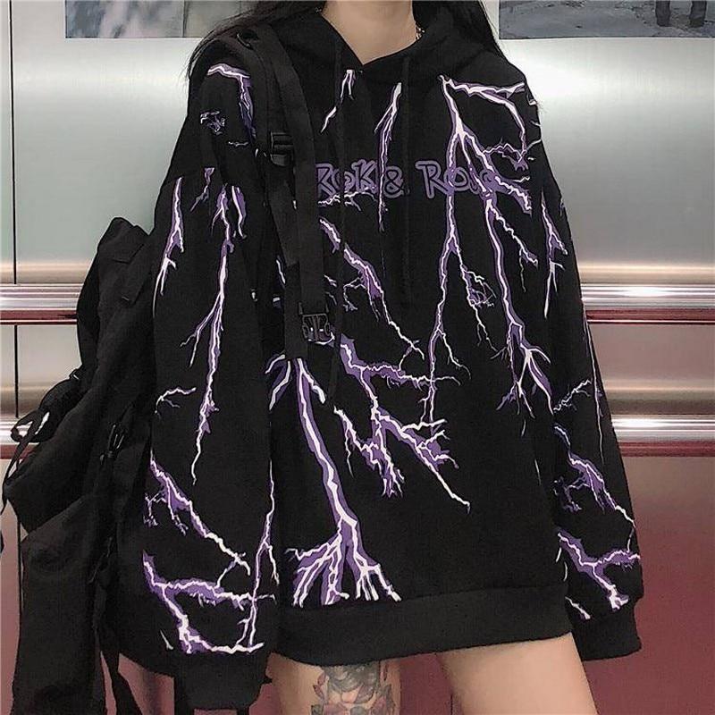 NiceMix Winter Women'S Korean Ins Harajuku Streetwear Dark Lightning Print Hooded Sweatshirt Fashion Loose Women'S Sweatshirt