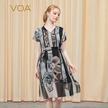 VOA 16MM Crepe-De-Chine melocotón Collar hombro De manga corta De impresión De tinta Guofeng correa De cintura abrazando elegante vestido AX127