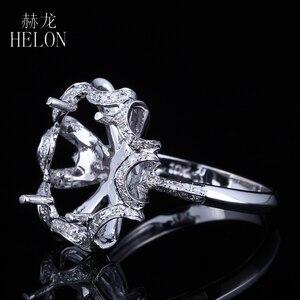 Image 2 - هيلون 10X12 مللي متر البيضاوي الصلبة 14K الذهب الأبيض AU585 0.3ct الماس الطبيعي النساء الزفاف غرامة مجوهرات فريدة من نوعها خاتم بدون فص الإعداد