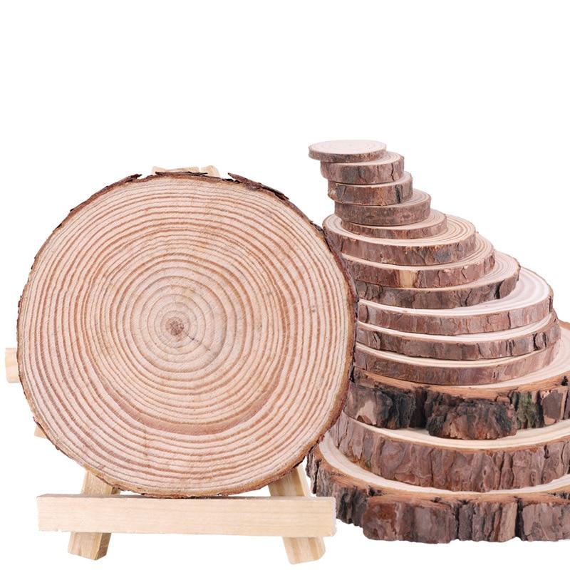 1 упаковка НЕОБРАБОТАННАЯ сосна натуральные круглые деревянные ломтики круги с корой дерева деревянные диски для вечерние ринки свадьбы DIY ...