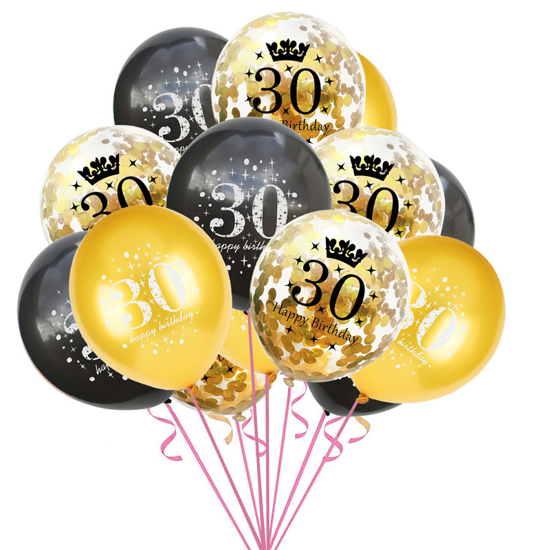 12PCS Mixed Gold Confetti Balloons number 16 <font><b>18</b></font> 30 40 50 60 70 80 <font><b>90</b></font> years old Birthday party digital ballon Latex Globos image