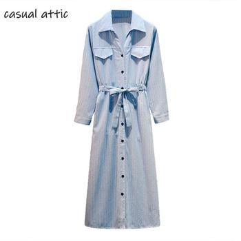Moda mujer estilo coreano Slim cintura camisa vestido 2019 otoño talla grande 5xl rayas manga larga solo pecho Midi vestido