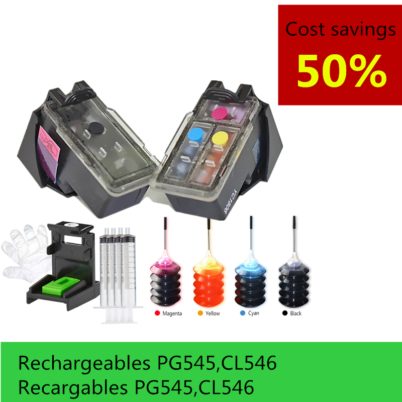 Refillable Ink Cartridge replacement for Canon PG 545 CL 546 compatible For Canon IP2850 MX495 MG2950
