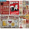 [SQ-DGLZ] Пейте хорошее пиво с хорошими друзьями, металлический знак, винтажные металлические тарелки, кафе, паб, клуб, домашний декор, жестяные ...