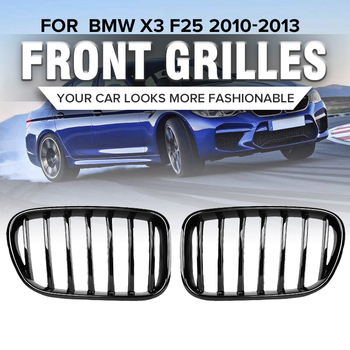 1 Pair Car Front Kidney Grille Gloss Black for BMW X3 F25 2010 2011 2012 2013 Replacement Racing Grilles RU Stock