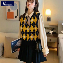 Vangull Argyle Plaid Women Sweater Vest V-Neck Vintage Knitted Pullover Vest New Soft Korean style Loose Sleeveless tank Tops