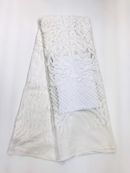 White Latest Nigerian Tulle Lace 2019 French Net Sequins Lace Fabric For Nigerian Wedding Embroidery African Lace Fabric LJL9708