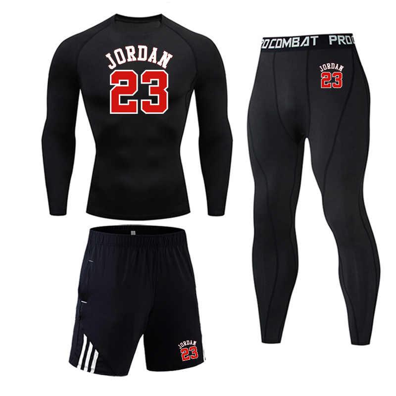 Mannen volledige Pak Trainingspak Sport Pak Gym joggers Compressie Fietsen Ondergoed Shirts leggings Basketbal Jordan 23 sportwear