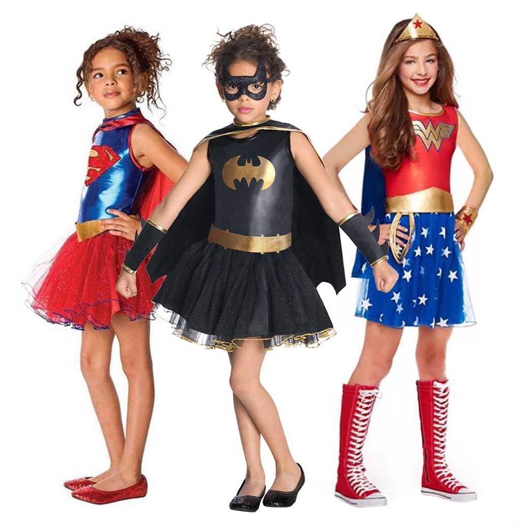 Костюм супергероя для девочек, костюм Чудо женщины, костюм Бэтгерл Робин, костюм Супергерл DC, костюм супергероя, Детский костюм на Хэллоуин