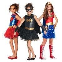 Superhero Girls Costume Wonder Women Costume Batgirl Robin Supergirl Costume DC Superhero Outfit Halloween Costume for Kids