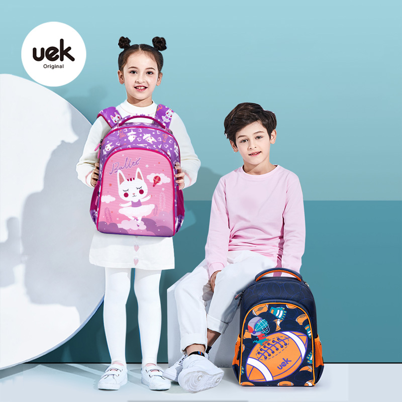 UEK Kids School Bags For Boys New Primary School Orthopedic Backpack Dinosaur Cat Bag For Girl Kids Satchel Knapsack Lightweight
