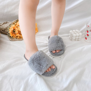 MudiPanda Winter Fur Slippers Woman Non-slip Children Indoor Home Shoes 2020 Kids Girls Pink Open-toed Soft Bottom Solid Color