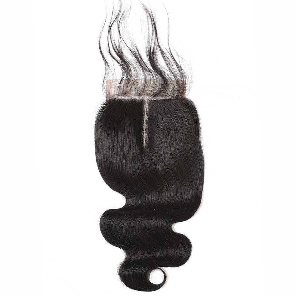 4x4 закрытие шнурка 100% человеческие волосы закрытие бразильские волосы плетение натуральный Remy объемная волна Фронтальная 4*4 закрытие бесплатная часть в Бразилию