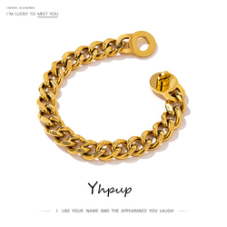 Yhpup 316L Stainless Steel Metal Bracelet High Quality Heavy Metal 18 K Plated Chain браслеты Statement Jewelry Bijoux Femme