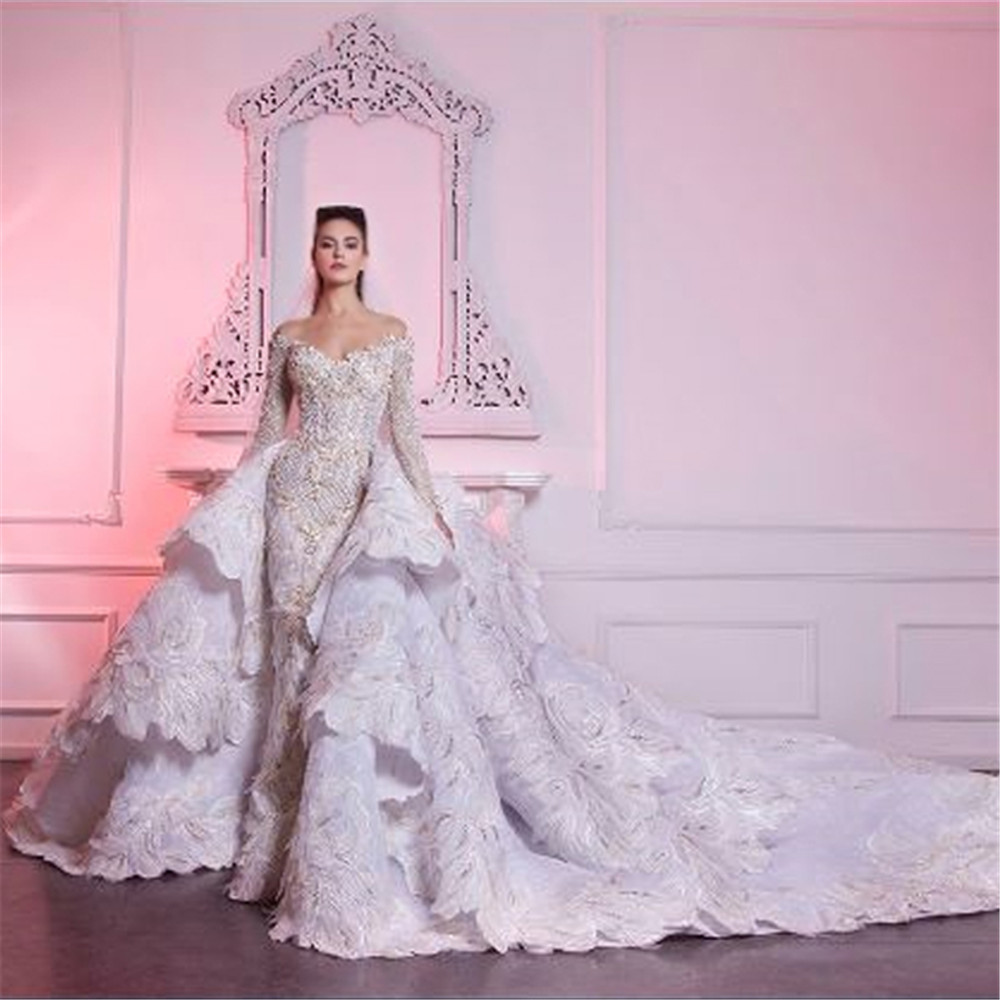 Robe De Mariee Luxury Lace Mermaid Wedding Dress With Detachable Train Romantic Long Sleeve Beads Tiered Wedding Bridal Gowns