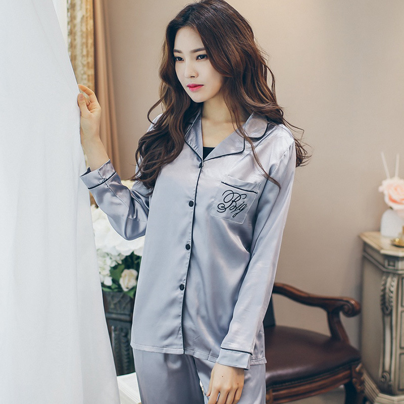 Spring Model Silk Pajamas Women's Sexy Long-sleeved Cardigan Solid Color Embroidered Viscose Thin Homewear Set