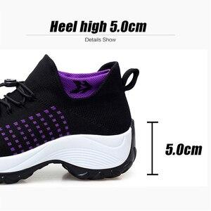 Image 5 - 2019 printemps femmes baskets légères à lacets chaussures plates plate forme compensée chaussette chaussures femme respirant maille Tenis Sapatos Feminino 1855