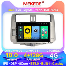4GB+128G Android 10 Car Radio Player for Toyota Prado 150 2010 2011 2012 2013 Multimedia Navigation Stereohead Unit 2 Din 8 CORE