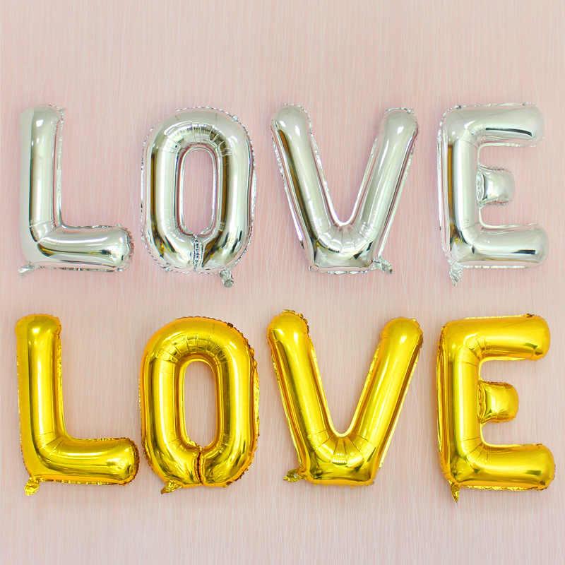 32 นิ้ว 16 นิ้ว Rose Gold Letter บอลลูนวันเกิดงานแต่งงานแต่งงานตัวอักษรบอลลูนครบรอบ Air Globos