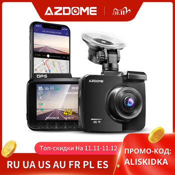 Updated Azdome 2.4 GS63H 4K Car DVR 2160P Built-in Gps Camera 1080P Dual Lens Rearview Car DVRS Super Night Vision Dash Cam image