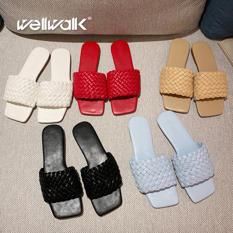 Knitted Slippers Women Brand New Flat Shoes Female Casual Summer Slides Comfortable Ladies Fashion Slipper Slip On Shoe Woman