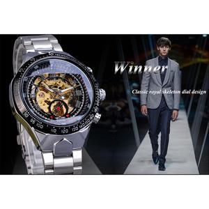Image 3 - Kazanan klasik serisi altın hareketi çelik erkek İskelet erkek kol saati mekanik üst marka lüks moda otomatik saatler