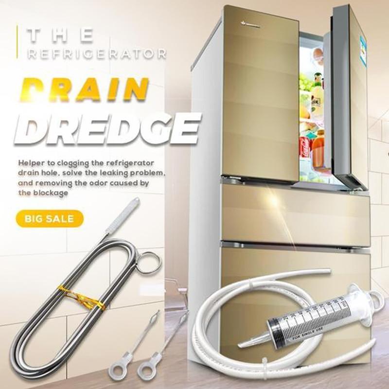 Набор для очистки дренажа холодильника, длинная гибкая щетка для чистки отверстий в холодильнике, щеточка для скраба, домашний шприц с прис...