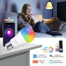 Wi-Fi, умный светильник RGB светодиодные лампы CW E27 LED лампы голосового Управление Цвет изменения диммируемой работы с Amazon Alexa Google Tuya Smart Life