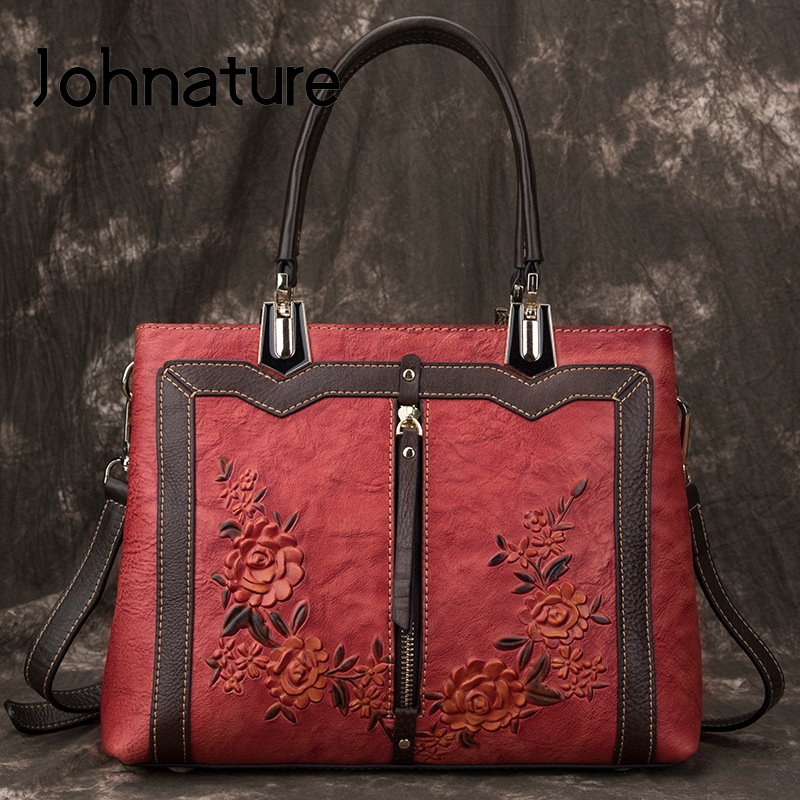 Johnature Retro Handmade Genuine Leather Luxury Handbags Women 