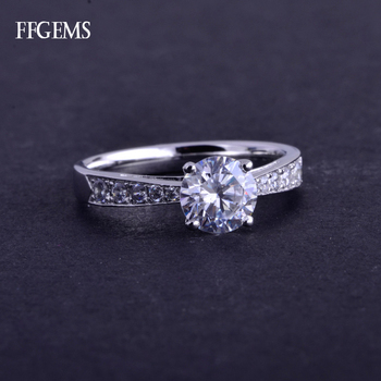 FFGems Real 10K Gold Ring Sterling Moissanite 1Ct D Color Excellent Cut Silver Fine Jewelry For Women Engagement Wedding Gift image