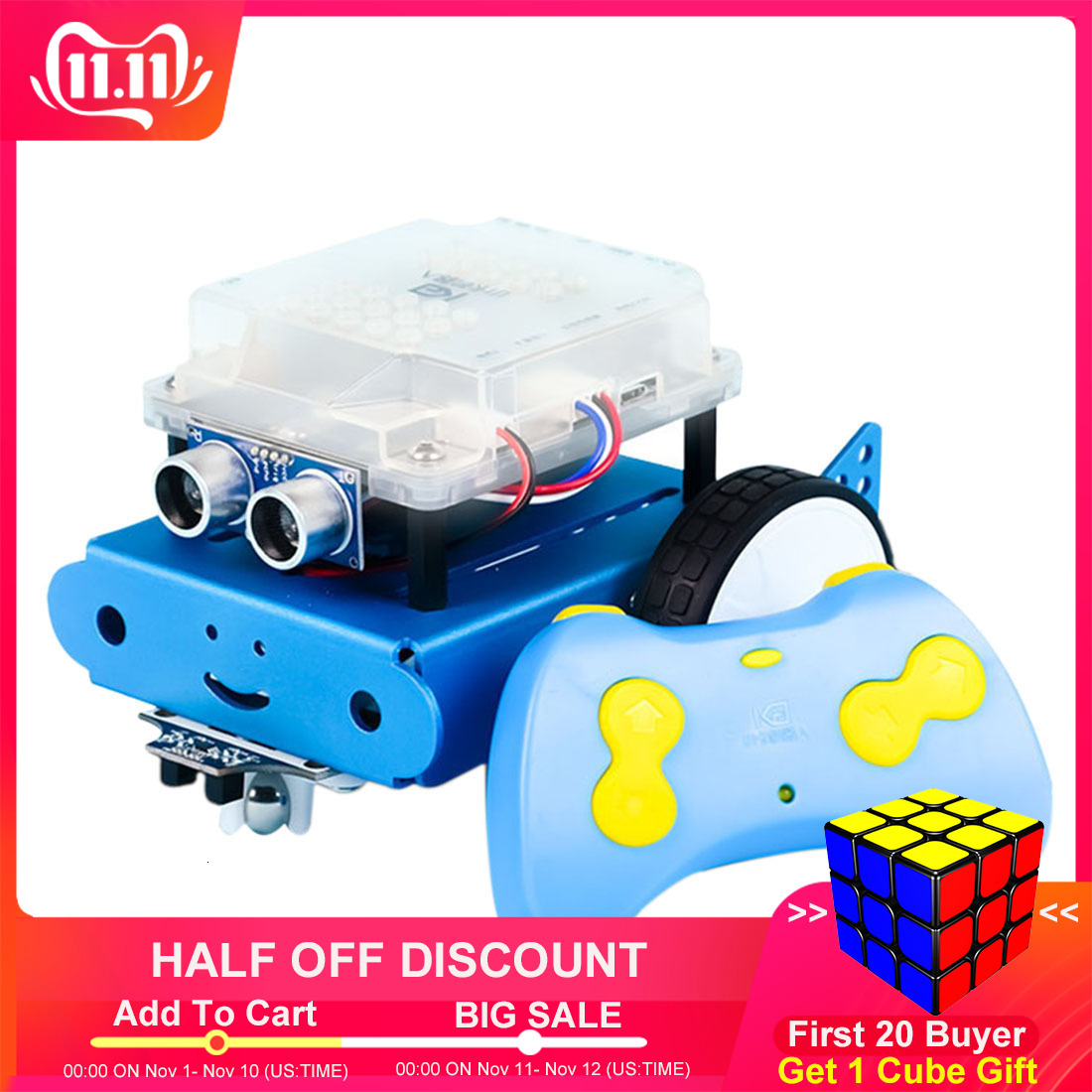 DIY Smart Robot Car Kit APP Control Programming Obstacle Avoidance Line-Tracking Ultrasonic Sensor - Blue