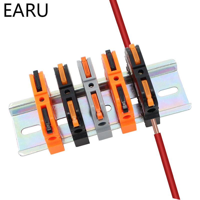 10Pcs PCT-211 1Pin Din Rail Universal Quick Fast Compact Wire Cable Connector Conductor Terminal Block With Lever Replace UK2.5B