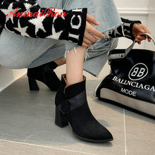 ANMAIRON  Women Boots Faux Suede Slip-On Ankle Winter Hoof Heels Pointed Toe Short Plush Black 34-43