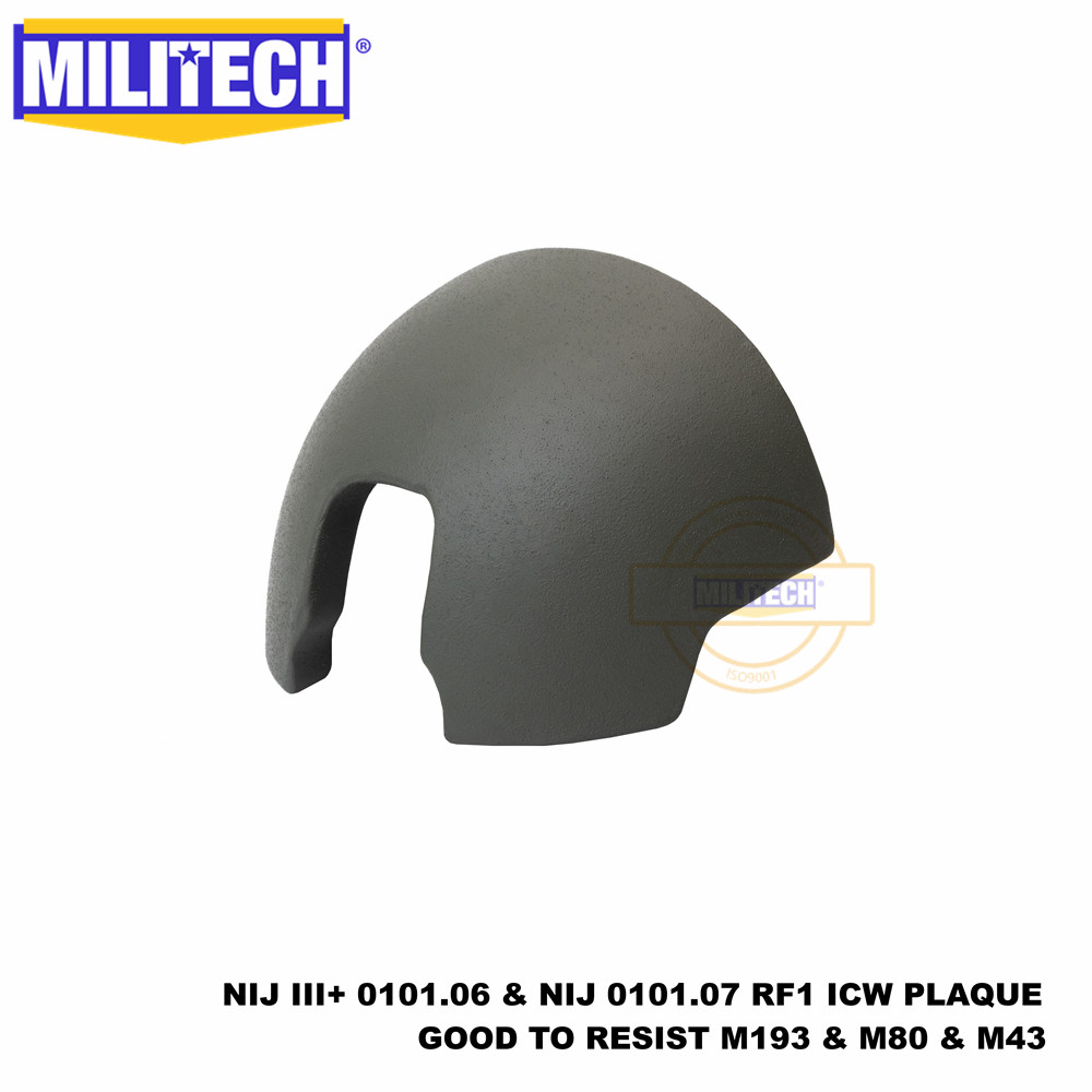 ISO Certified MILITECH NIJ III+ 0101.07 RF1 ICW Ballistic Plaque For FAST Ballistic Helmet Shield FHS Bulletproof Shield