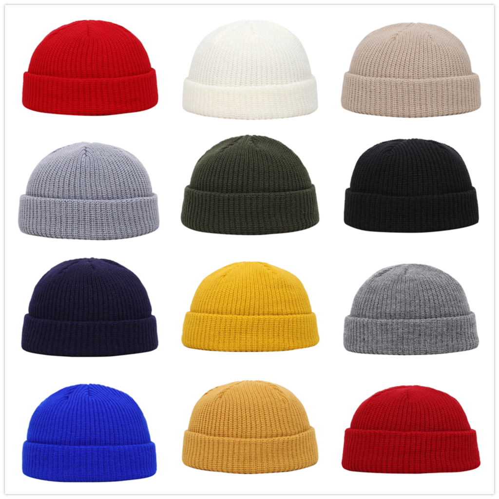 Winter Knit Mens Hat Skullcap Men Beanie Hat Winter Short Brimless Baggy Melon Cap Docker Fisherman Knitted Hat Women Z1212