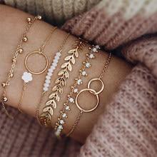 Tocona – pompon doré bohème Bracelets pour femme, bijoux Boho Bracelet à breloques, feuilles géométriques, perles, chaîne à main superposée, ensemble 9143