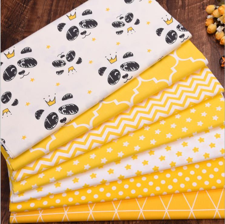 Желтая панда волнистые звезды Сделай Сам шитье толстых четвертей Лоскутная Детская Ткань Домашний текстиль Tecido Twill хлопковая ткань