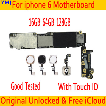 For iPhone 6 Tested Good Working Original Factory Unlocked Motherboard for iPhone 6 logic board mainboard With Touch ID/ Without