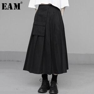 [EAM] High Waist Black Pocket Split Joint Pleated Temperament Half-body Skirt Women Fashion Tide New Spring Autumn 2020 1U326