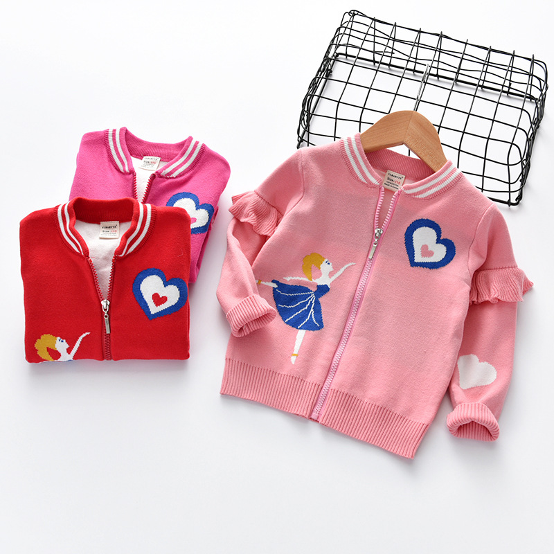 2018 Autumn And Winter New Style Sweater Girls Crew Neck Korean-style Children Double Layer Thick Children Cotton Pullover Sweat