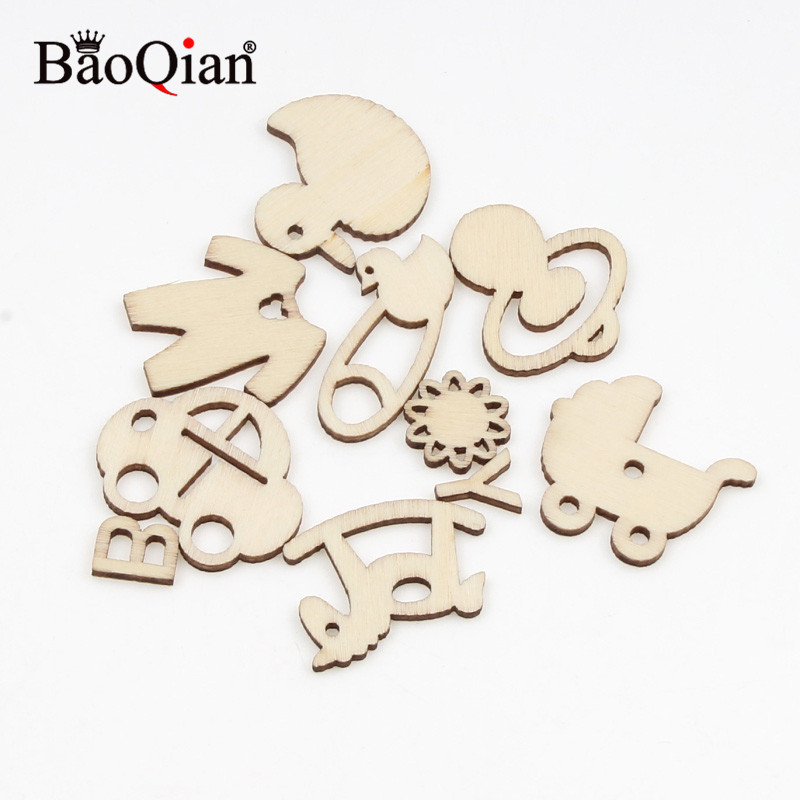 20pcs 10-35mm Baby Products Pattern Home Decoration Natural Wood Diy Crafts Scrapbooking For Embellish Accessories
