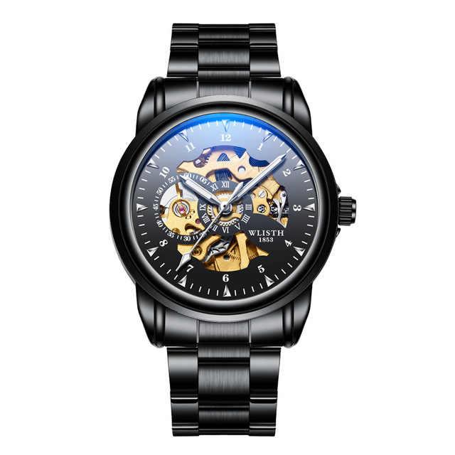 2020 ساعة أوتوماتيكية فاخرة موضة ساعة رجالي عادية العلامة التجارية الفاخرة الهيكل العظمي الميكانيكية ساعة مقاومة للماء مضيئة الأيدي